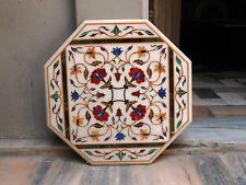 WHITE coffee Marble mosaic inlay table top dining 2' garden octagon table SIDE