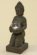Buddha mit Windlicht 44cm Höhe Mönch Braun Buddhafigur Teelichthalter Modell