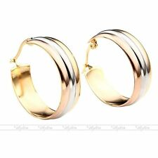 2pc Fashion Women's Stainless Steel Tri-Color Drop Round Hoop Earrings Xmas Gift