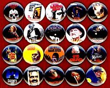 Horror Movies buttons pin badge 20 Texas Chainsaw Evil Dead Dawn of Day Night