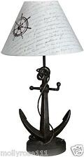 Rustic Nautical Metal Anchor Lamp Bedside Table  Home Decor