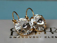 Gold Plated Clear Rivoli Leverback Earrings made with Swarovski Crystal Elements