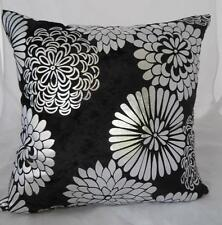 Home Silver Abstract Flowers Black Velvet Cushion Cover Decor Pillow Case ~ 45cm