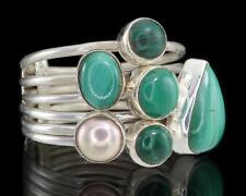 MALACHITE & PEARL 925 STERLING SILVER FIVE BAND STACK RING - Size US 8 (P½)