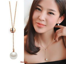Rose Gold Fill Crystal Adjustable Long Chain White Pearl Necklace N116