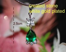4ct pear cut emerald CZ 2.5cm white gold plated pendant