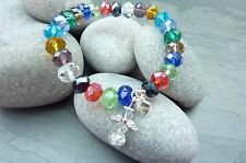Angel Multi Colour glass crystal bead Guardian bracelet gift charm heart stretch