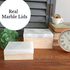 Set of 2 Decorative Boxes With Real MARBLE Lid/Wood Storage Trinket/Jewel Box