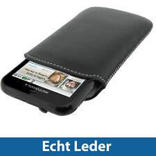 Schwarz Echt Leder Beutel für Motorola Defy MB525 & Defy+ (Plus) Android Tasche