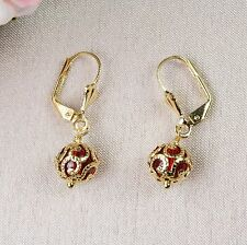 E10 18K Gold Filled Ruby Bead Dangle Leverback Earrings - Giftboxed