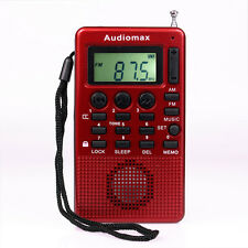 Red Pocket FM AM Radio MP3 Music Player USB Speaker Alarm Clock Sleep timer New