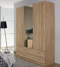 SPECIAL OFFER RAUCH 3 DOOR WARDROBE WITH 4 DRAWERS IN SONOMA OAK 1 MIRROR