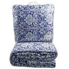Blue White Bedspread Set Queen Throw 260x280 cm 100% Cotton.