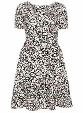 Dorothy Perkins Pink White Black Summer Womens Tall Floral Skater Dress Size 8