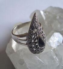 Ring mit Markasit und Onyx, 925er Silber, Gr 19,1 - Gothic -