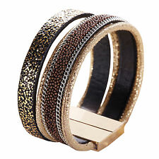Brown Magnet Closure Cuff Leather with Beads Rhinestone Bracelet Slake