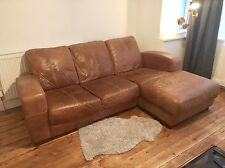 Leather 3 4 Seater corner Sofa Chaise tan Suite brown Vintage ranch