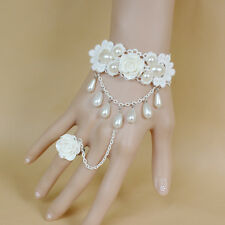 Fashion White Rose Flower Pearl Slave Bracelet Chain Ring Wedding Bridal Jewelry