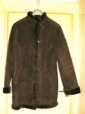 BHS BROWN FAUX SHEEPSKIN COAT WITH FUNNEL NECK&FAUX FUR COLLAR. SIZE 12