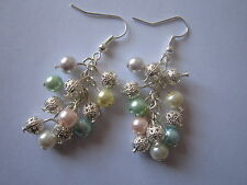Drop / Dangle Earrings - Multi-coloured Pearl & Filigree Clusters - Silver Plate