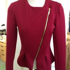 EX ASOS WINE COLOUR LONG SLEEVES, FRONT ZIP JACKET SIZE 16
