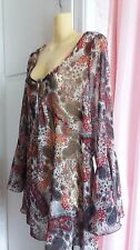 Size 14-16 Womens Boho Floral Top By Lakeland