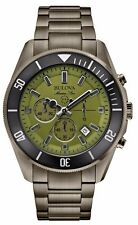 Bulova Men's 98B206 Marine Star Chronograph Green Dial Stainless Steel Watch