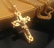 24k GoldPlated Iced Out Crucifi Sweater Cuban Chain JESUS CROSS Pendant Necklace