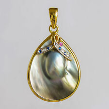 MABE PEARL 18K GOLD PENDANT. BRIGHT SILVER MABE WITH RUBY, SAPPHIRES & DIAMONDS.