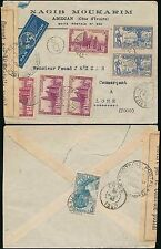 FRENCH IVORY COAST AIRMAIL to TOGO 1941 CENSORED MOUKARIM ENV...AOF 7 stamps
