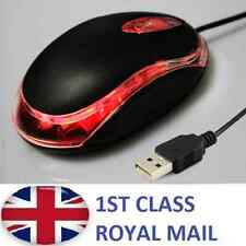 WIRED USB OPTICAL MOUSE FOR PC LAPTOP COMPUTER SCROLL WHEEL - BLACK - UK - M3