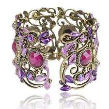 VTG Cameo Leaf Diamante Gem Cuff Vogue Open Hollow Statement Bangle Bracelet