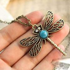 Vintage Dragonfly Rhinestone Crystal Necklace Pendant Jewelry Women's Lady
