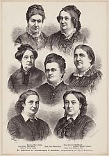 Feminismus - Die Führerinnen der Frauenbewegung - L. Morgenstern u.a. Stich 1883