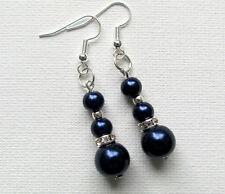 Navy Blue Pearl & Crystal Rondell Beaded Drop/Dangle PIERCED Earrings Jellybean
