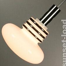 alte Stab Pendel Lampe Opal Glas Chrom Bulb Design Leuchte 70er Jahre vintage