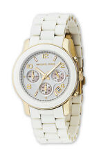 Michael Kors Ladies Champagne White & Gold Chronograph Designer Watch MK5145
