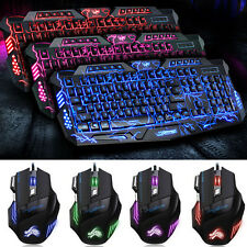 Gaming Tastatur Gamer Keyboard Beleuchtet PC-MULTI FARBEN USB Kabel+Gaming Maus