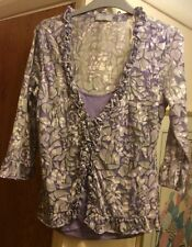 Ladies Marks & Spencer per una floral top lilac stretch Frill Cami Size12 New