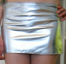 Sexy Shiny Wet Look stretchy Mini Skirt SILVER Sizes From  8 up to 14/16