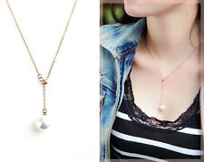 New 18K Rose Gold Filled Women Cute Pearl Drop Sexy pendant Charm Chain Necklace