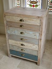 multi colour Vintage Industrial Cabinet 2 Drawers Retro style Storage Chest