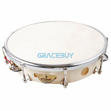 "10"" Capoeira Leather Pandeiro Drum Tambourine Samba Brasil Wood Music Percussion"
