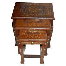 Tisch Set 3-teilig Holz Messingintarsien Schnitzmuster 3 Beistelltische