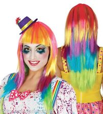 Ladies Long Straight Rainbow Wig Pride Clown Circus Fancy Dress Costume Outfit