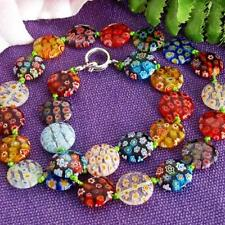 Millefiori Glass Lampwork Coin Beads Necklace HOT TRENDY