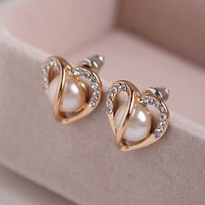 Lixury Women Gift Ear Jewelry Rose Gold Hollow Heart Rhinestone Pearl Earrings