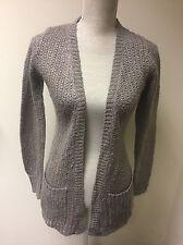 Women Cardigan Grey Sparkly Knit Size 6 (8)