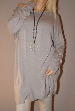 Feinstrick Pullover Lang Kaschmir Blogger Kleid Weich L 40 42 44 XL Taupe Top