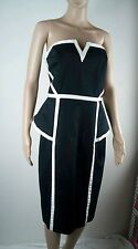 Plus Size Cocktail Dress City Chic S 16 18 Peplum Bnwt Black White Evening Event